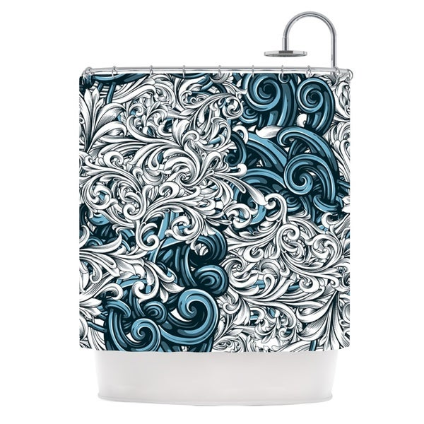 """KESS InHouse Nick Atkinson """"Celtic Floral II"""" Abstract Blue Shower Curtain (69x70) - 69 x 70"""