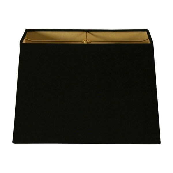 Royal Designs Rectangle Hard Back Lamp Shade, Linen Black, (6x12) x (8x14) x 10