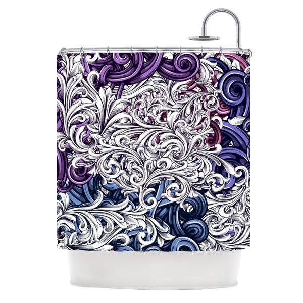 KESS InHouse Nick Atkinson Celtic Floral I Purple Abstract Shower Curtain (69x70)