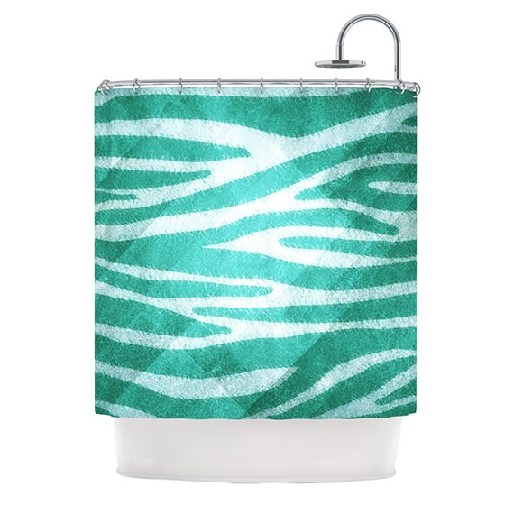 KESS InHouse Nick Atkinson Blue Zebra Print Texture Shower Curtain (69x70)