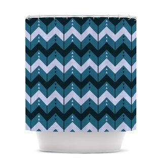 KESS InHouse Nick Atkinson Chevron Dance Blue Shower Curtain (69x70)