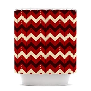 KESS InHouse Nick Atkinson Chevron Dance Red Shower Curtain (69x70)