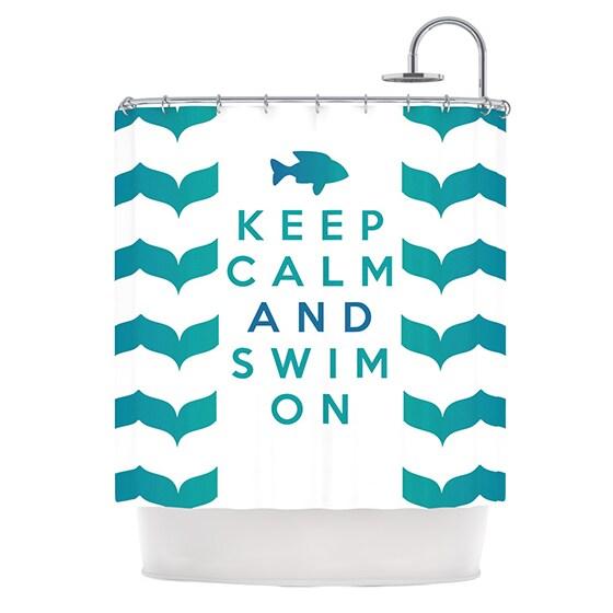 KESS InHouse Nick Atkinson Keep Calm and Swim On Teal White Shower Curtain (69x70)