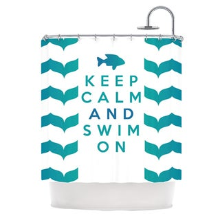 KESS InHouse Nick Atkinson Keep Calm and Swim On Teal White Shower Curtain (69x70)