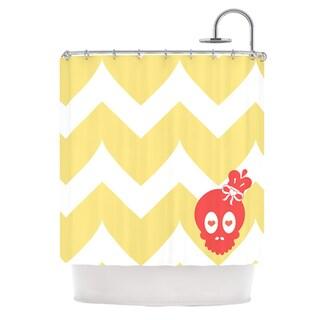 KESS InHouse Nick Atkinson Skull II Yellow Chevron Shower Curtain (69x70)