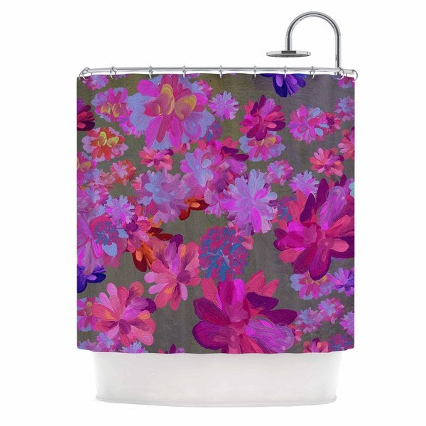 KESS InHouse Marianna Tankelevich Purple Flowers Pink Blue Shower Curtain (69x70)