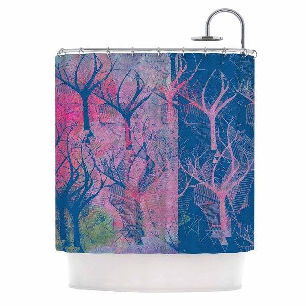 KESS InHouse Marianna Tankelevich Fantasy Garden Pink Blue Shower Curtain (69x70)