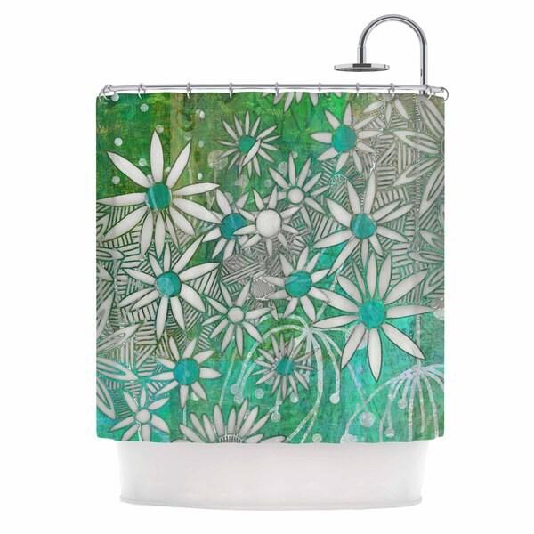 KESS InHouse Marianna Tankelevich Spring Daisies Green White Shower Curtain (69x70)