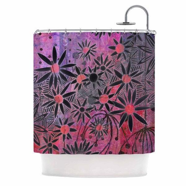 KESS InHouse Marianna Tankelevich Black Flowers Pink Purple Shower Curtain (69x70)