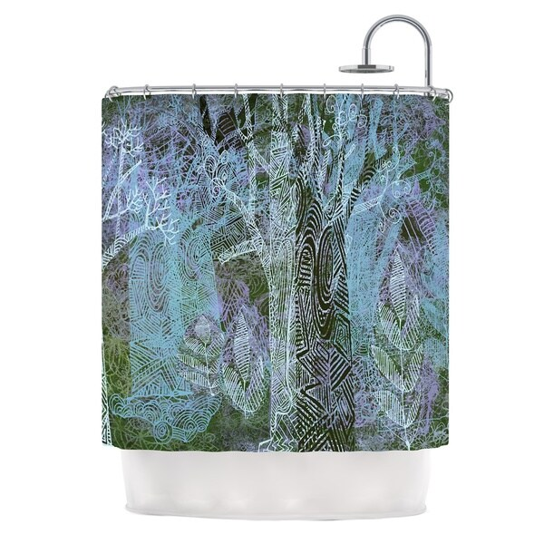 KESS InHouse Marianna Tankelevich Wild Forest Blue Trees Shower Curtain (69x70)