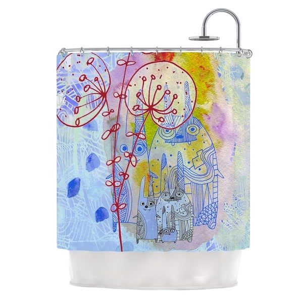 KESS InHouse Marianna Tankelevich Composition with Bunnies in Blue Abstract Rabbits Shower Curtain (69x70)