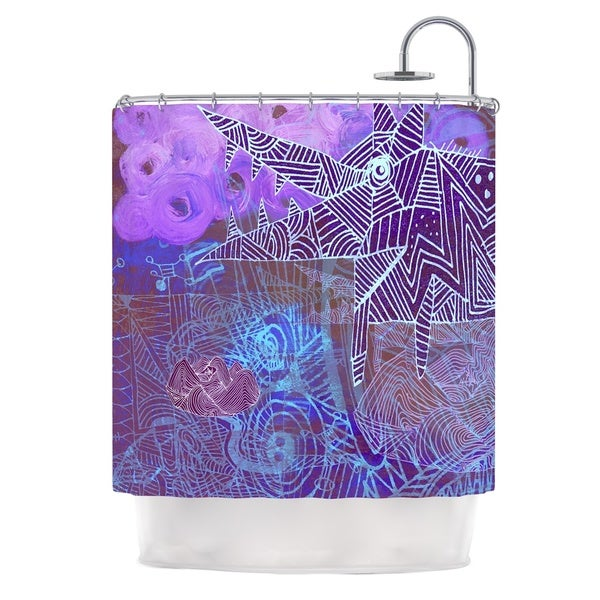 KESS InHouse Marianna Tankelevich Abstract With Wolf Purple Illustration Shower Curtain (69x70)