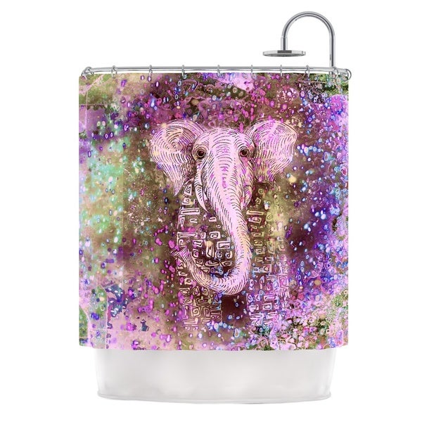 Shop KESS InHouse Marianna Tankelevich Pink Dust Magic Elephant Sparkle Shower Curtain 69x70