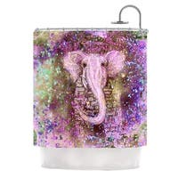 KESS InHouse Marianna Tankelevich Pink Dust Magic Elephant Sparkle Shower Curtain (69x70)