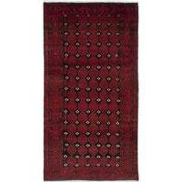 ecarpetgallery Hand-Knotted Finest Baluch Black, Red  Wool Rug (3'5 x 6'6)