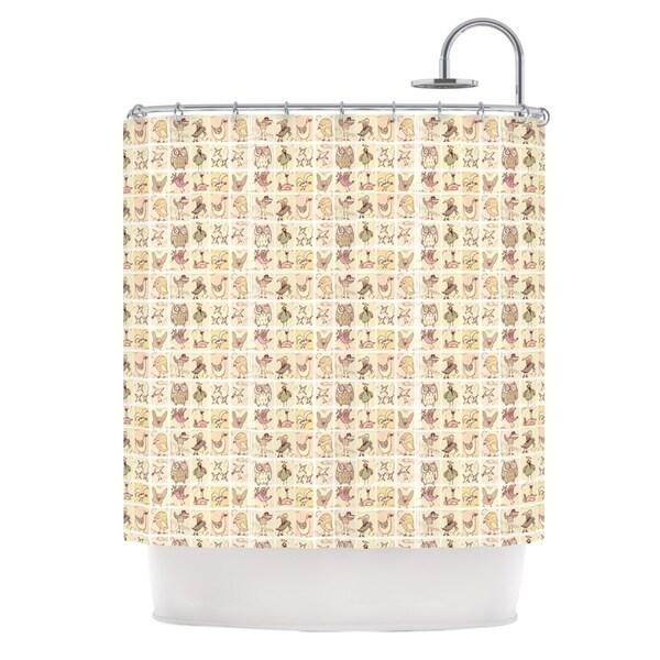 KESS InHouse Marianna Tankelevich Cute Birds Tan Grid Shower Curtain (69x70)