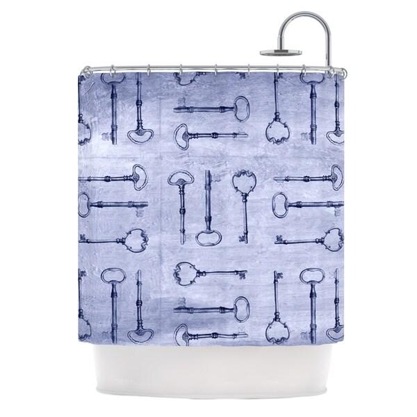 KESS InHouse Marianna Tankelevich Secret Keys Blue Aqua Navy Shower Curtain (69x70)