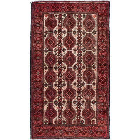 ecarpetgallery Hand-Knotted Finest Baluch Ivory, Red Wool Rug (3'3 x 5'9) - 3'3 x 5'9