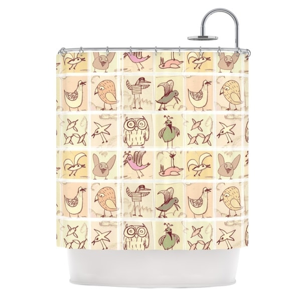KESS InHouse Marianna Tankelevich Birdies Yellow Brown Shower Curtain (69x70)