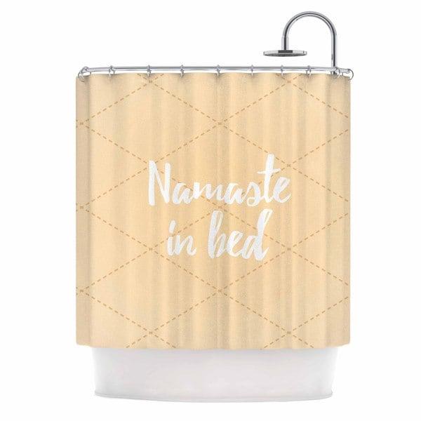 KESS InHouse KESS Original Namaste In Bed Yellow Tan White Shower Curtain (69x70)