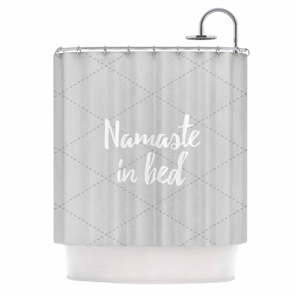 Shop KESS InHouse Original Namaste In Bed Grey White Gray Shower Curtain 69x70