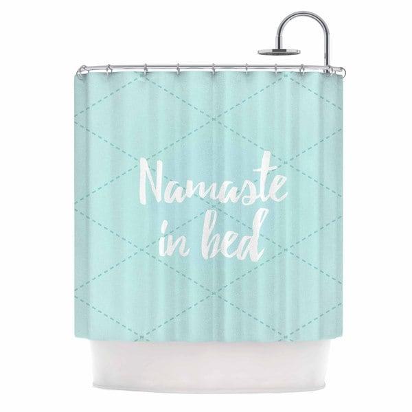 KESS InHouse KESS Original Namaste In Bed Teal Blue White Shower Curtain (69x70)