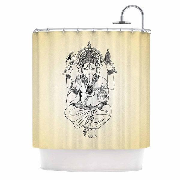 KESS InHouse KESS Original Golden Ganesha Gold Elephant Shower Curtain (69x70)