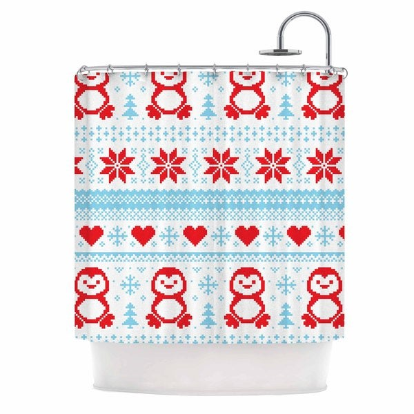 KESS InHouse KESS Original Pixel Penguin Holiday Christmas Pattern Shower Curtain (69x70)