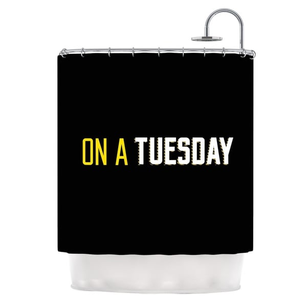 KESS InHouse KESS Original Tuesday Black Typography Shower Curtain (69x70)