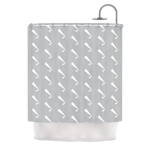 "KESS InHouse KESS Original ""Check You Out"" Gray White Shower Curtain (69x70) - 69 x 70"