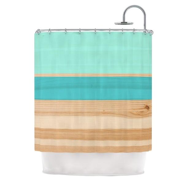 KESS InHouse KESS Original Spring Swatch - Blue Green Teal Wood Shower Curtain (69x70)