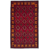 ecarpetgallery Hand-Knotted Finest Baluch Red Wool Rug - 3'4 x 5'10