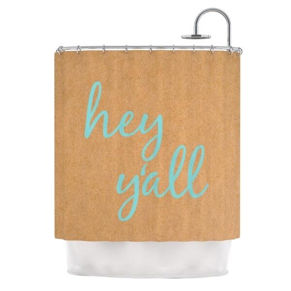 KESS InHouse KESS Original Hey Y'all Brown Blue Shower Curtain (69x70)