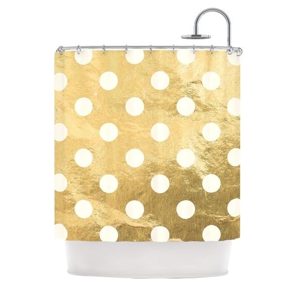 KESS InHouse KESS Original Scattered White Metallic Shower Curtain (69x70)