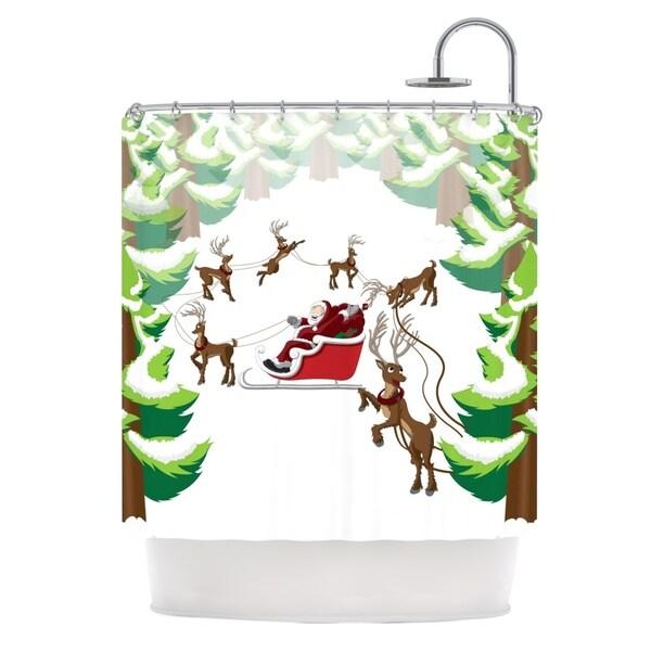 KESS InHouse KESS Original Forest Sleigh Scene Holiday Illustration Shower Curtain (69x70)