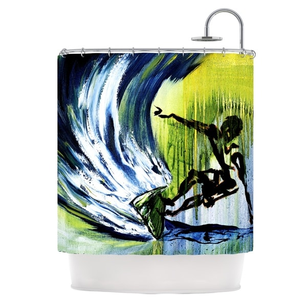 KESS InHouse Josh Serafin Greenroom Green Surfer Shower Curtain (69x70)