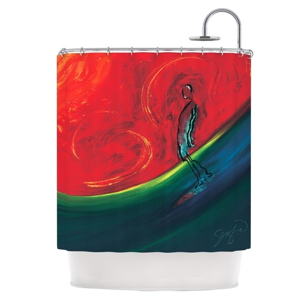 KESS InHouse Josh Serafin Glide Red Blue Shower Curtain (69x70)