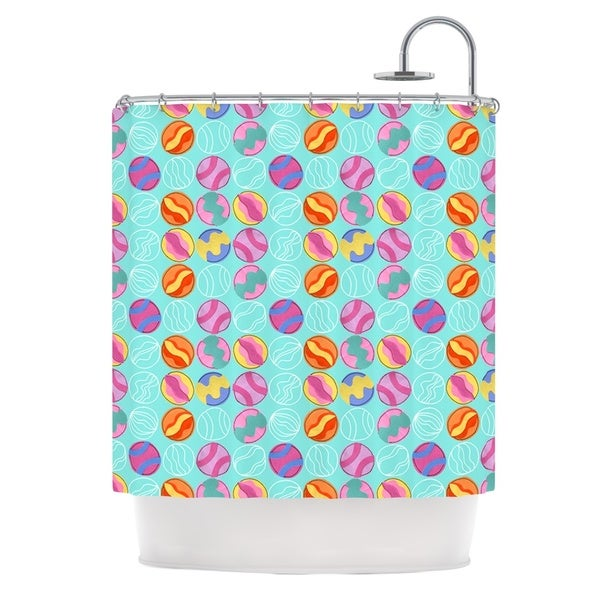 KESS InHouse Jane Smith Vintage Playground III Teal Pink Shower Curtain (69x70)