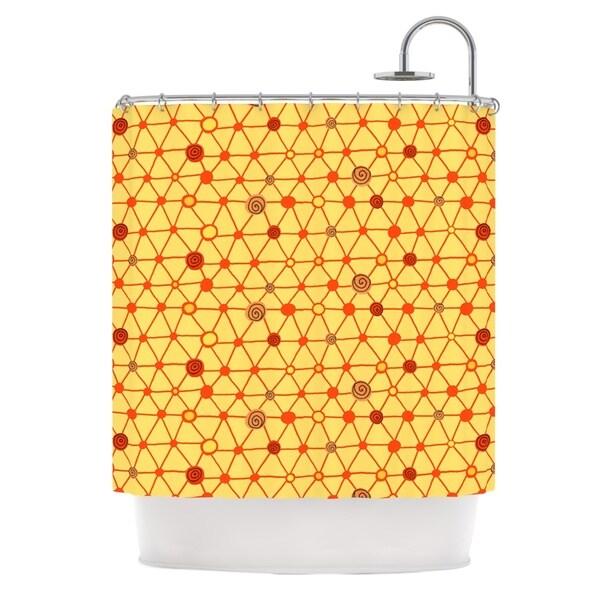KESS InHouse Jane Smith Vintage Playground Yellow Red Shower Curtain (69x70)
