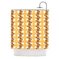 KESS InHouse Jane Smith Mushroom Repeat Brown Yellow Shower Curtain (69x70)