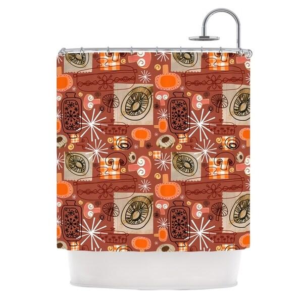 KESS InHouse Jane Smith Vintage Kitchen Brown Orange Shower Curtain (69x70)