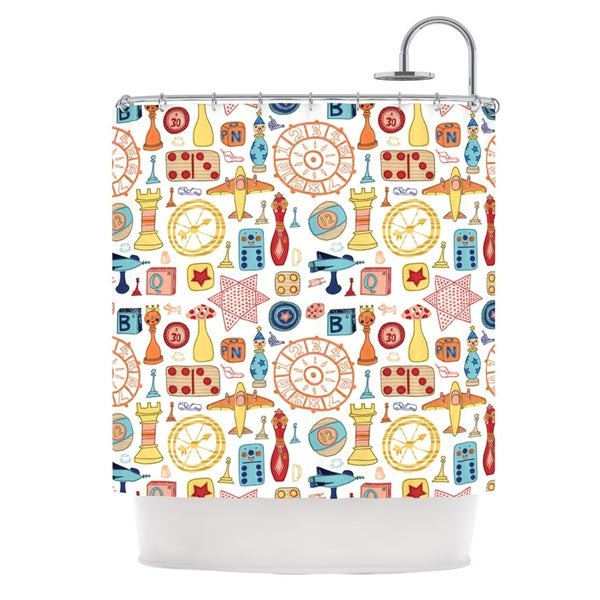 KESS InHouse Jane Smith Vintage Games Orange Yellow Shower Curtain (69x70)