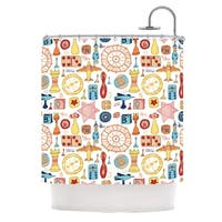 KESS InHouse Jane Smith Vintage Games Orange Yellow Shower Curtain (69x70)
