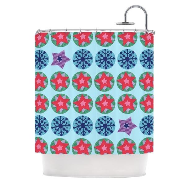 KESS InHouse Jane Smith Seasons Winter Blue Red Shower Curtain (69x70)