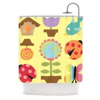 KESS InHouse Jane Smith Spring Repeat Yellow Shower Curtain (69x70)