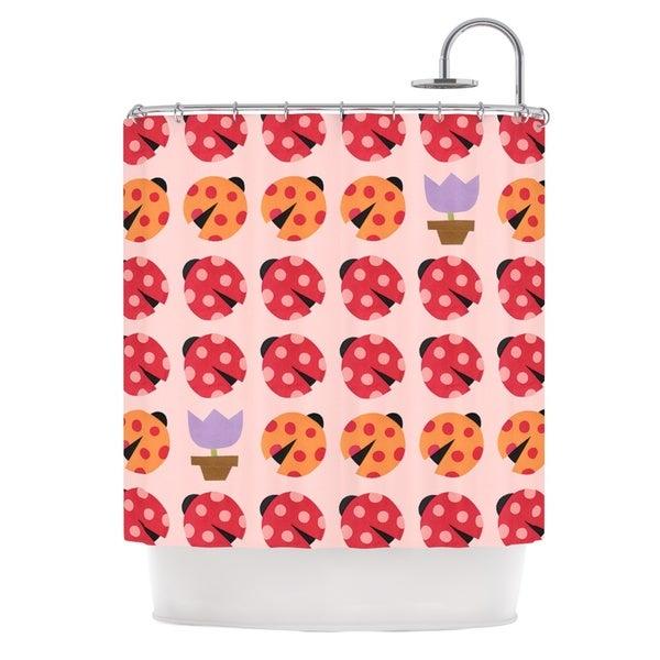 KESS InHouse Jane Smith Seasons Spring Pink Red Shower Curtain (69x70)