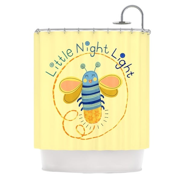 Shop KESS InHouse Jane Smith Little Night Bug Yellow Blue Shower Curtain 69x70