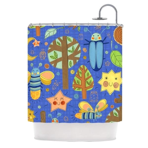 KESS InHouse Jane Smith Lightning Bug Blue Teal Shower Curtain (69x70)