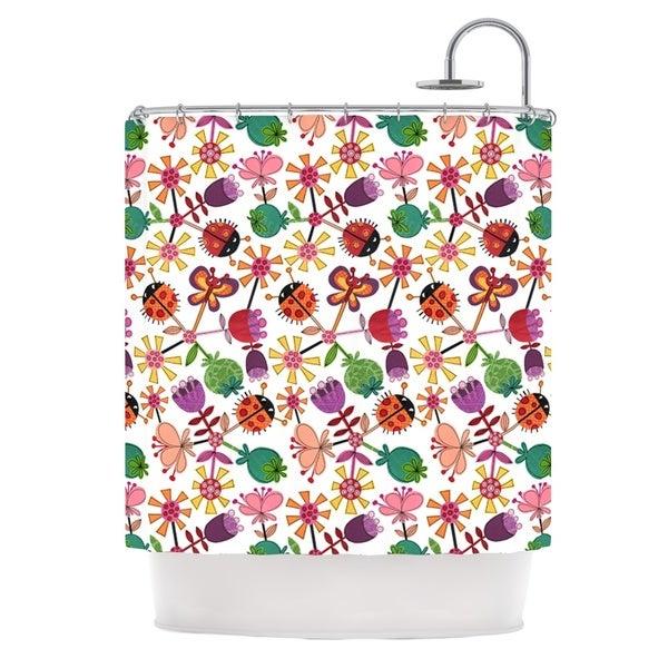 KESS InHouse Jane Smith Garden Floral Plants Bugs Shower Curtain (69x70)