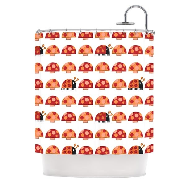 KESS InHouse Jane Smith Garden Ladybugs Orange Red Shower Curtain (69x70)